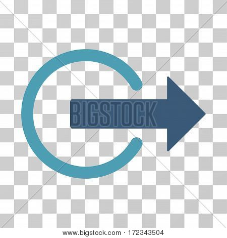 Logout vector pictogram. Illustration style is flat iconic bicolor cyan and blue symbol on a transparent background.