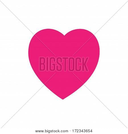 Heart pink. Isolated sidn on white background. Romantic silhouette symbol linked join love passion and wedding. Colorful mark of valentine day. Design element. Vector illustration