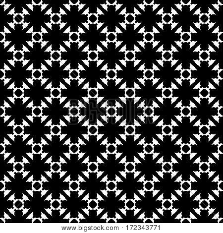 Vector monochrome seamless pattern. Black & white geometric texture. Modern stylish background, repeat tiles. Endless dark abstract backdrop with dotted diagonal lines. Design for decoration, textile, fabric, digital, web