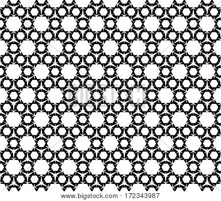 Vector monochrome seamless pattern. Black and white repeat ornamental texture. Simple geometric figures, hexagons & triangles. Modern stylish abstract background. Design for prints, decoration, clothes, furniture, textile, web