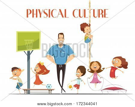 Primary school physical culture teacher enjoys modern sport facility with kids playing basketball and baseball cartoon vector illustration