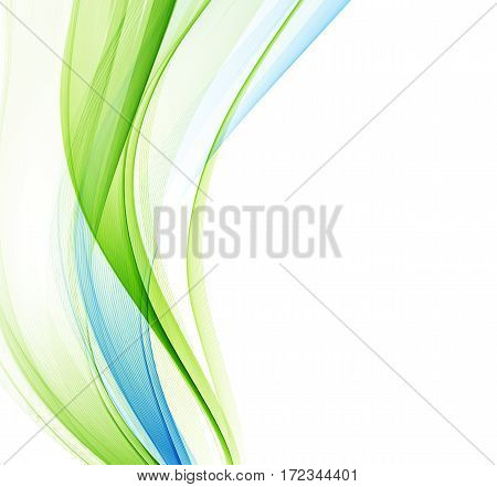 Abstract vector background, blue and green waved lines for brochure, website, flyer design. Transparent wave