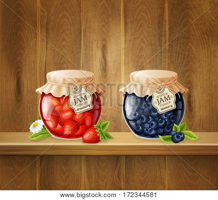 Jars with strawberry and blueberry jam decorated flower at shelf on wooden planks background 3d vector illustration