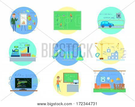 Eight round mathematics compositions set with using maths in different industries and real life with people vector illustration