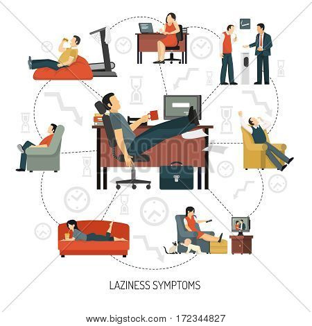 Infographics with flowchart of laziness symptoms including people at work and in armchair at home vector illustration