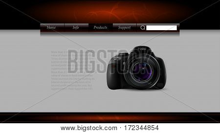 Web template with an image of photo camera  and space for text