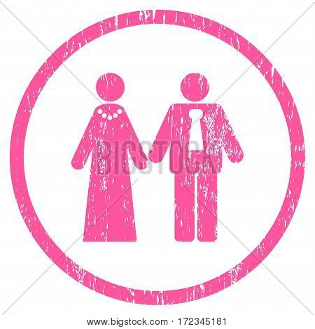 Newlyweds grainy textured icon for overlay watermark stamps. Rounded flat vector symbol with scratched texture. Circled pink ink rubber seal stamp with grunge design on a white background.