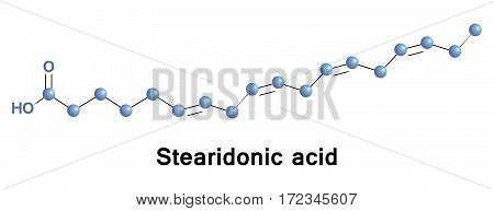 Stearidonic is an omega 3 fatty acid, sometimes called moroctic acid, it is biosynthesized from ALA. Sources of this it are seed oils of hemp, blackcurrant, corn gromwell, echium, and Spirulina