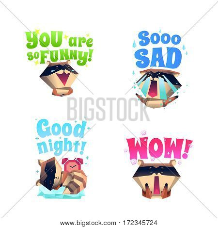 Funny raccoon fictional cartoon character 4 icons composition in funny sad and sleepy mood isolated vector illustration