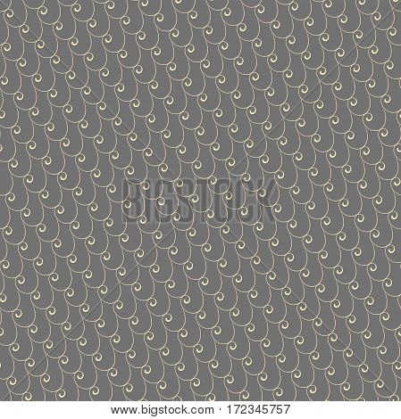 Seamless vector ornament. Modern background. Geometric pattern with repeating golden waves