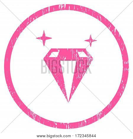 Sparkle Diamond Crystal grainy textured icon for overlay watermark stamps. Rounded flat vector symbol with unclean texture. Circled pink ink rubber seal stamp with grunge design on a white background.