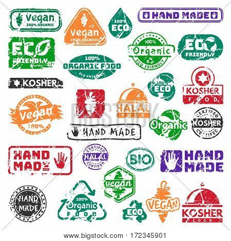 Vector retro teal vintage stamps for quality mark premium guarantee old warranty and grunge satisfaction shop tag design eco natural food badge vector illustration. Customer hand made artwork.