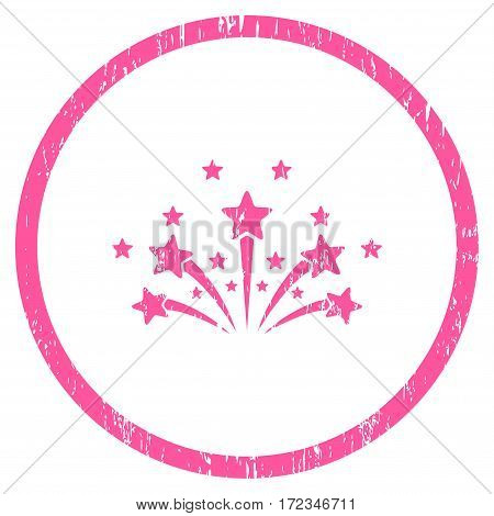 Star Fireworks grainy textured icon for overlay watermark stamps. Rounded flat vector symbol with dirty texture. Circled pink ink rubber seal stamp with grunge design on a white background.