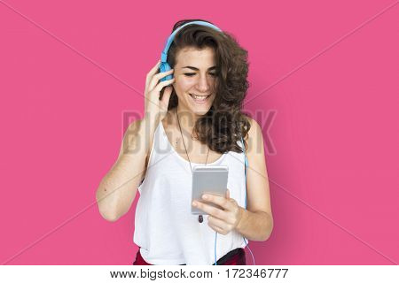 Caucasian Lady Listening Music Headphones