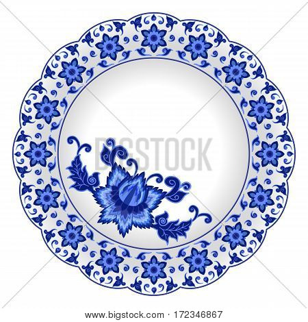 Decorative porcelain plate ornate with traditional blue floral pattern