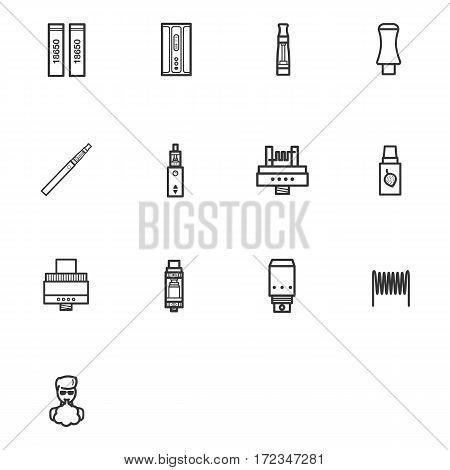 E-cagarettes vector icon set in simple outline style