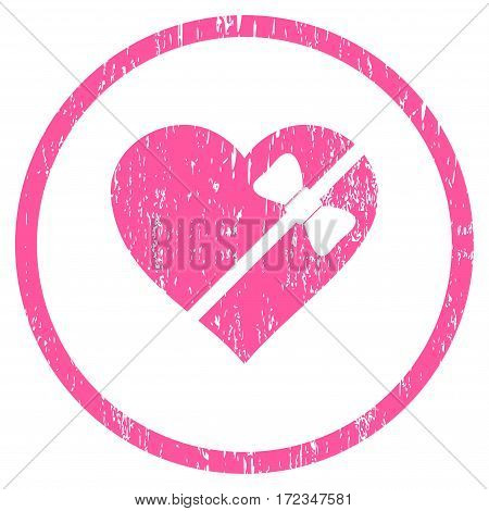 Tied Love Heart grainy textured icon for overlay watermark stamps. Rounded flat vector symbol with unclean texture. Circled pink ink rubber seal stamp with grunge design on a white background.