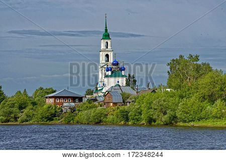 Church on the banks of the Volga River near the town of Kineshma, Ivanovo region. Vastness. Clouds. Volga. Russian landscape.