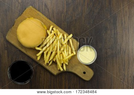 cheeseburger fries coca sauce food junk food fast food food cheese meat bad food not healthy bread