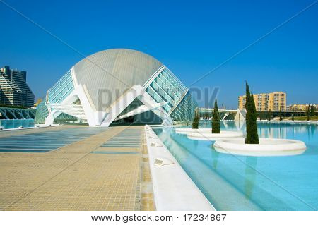 VALENCIA, SPAIN - MARCH 17: Hemisferic in The City of Arts and Sciences of Valencia on March 17, 2010 in Valencia, Spain. This futuristic building was designed by famous architect Santiago Calatrava.