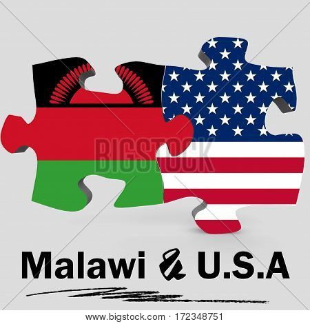 Usa And Malawi Flags In Puzzle