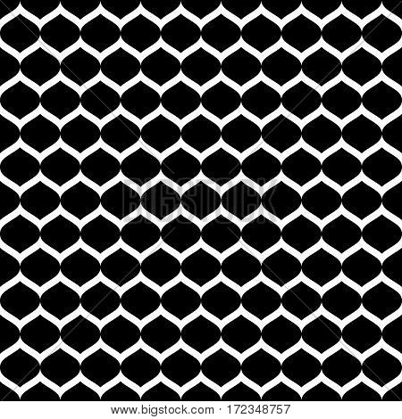 Vector monochrome seamless pattern, simple black & white geometric texture, dark illustration of mesh, smooth lattice, tissue structure. Repeat abstract background. Design for prints, textile, decoration, digital, web, furniture