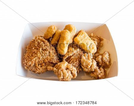 Closeup fried chicken isolated on white background with clipping path.