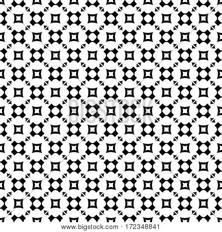 Vector monochrome seamless pattern, geometric texture, black rounded figures, crosses, squares, triangles on white backdrop. Modern abstract repeat background. Design for prints, decoration, textile, furniture, digital, web
