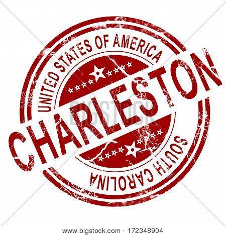 Charleston South Carolina Stamp With White Background