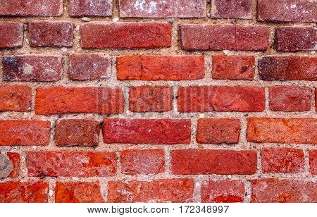 The texture of the brick wall of red brick. Old building.