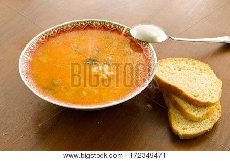 Traditional russian soup rassolnik with pickled cucumbers