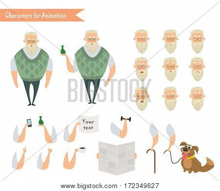 Grandfather character for scenes. Parts of body template for animation. Funny Old Man cartoon. Emoji face icons