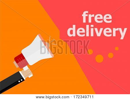 Flat Design Business Concept. Free Delivery Digital Marketing Business Man Holding Megaphone For Web