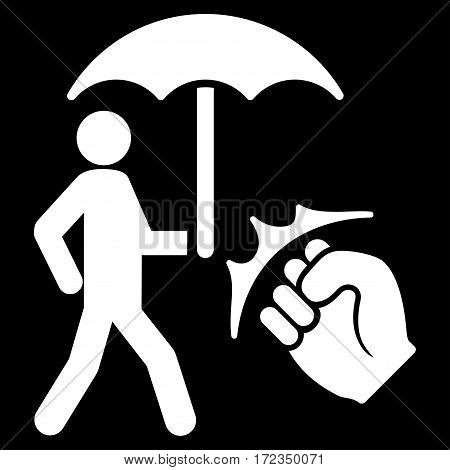 Crime Coverage vector icon. Flat white symbol. Pictogram is isolated on a black background. Designed for web and software interfaces.