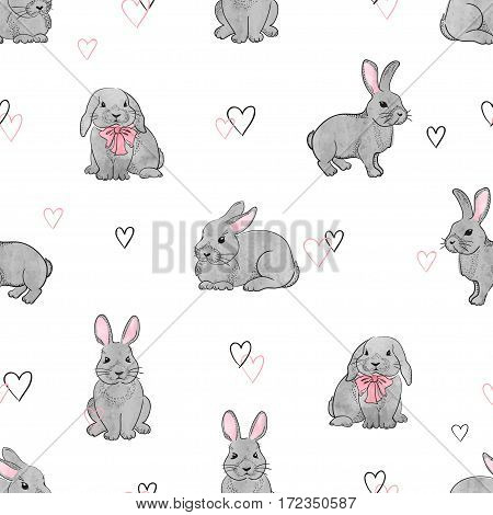 Easter rabbits seamless pattern. Vector background with cute bunnies.