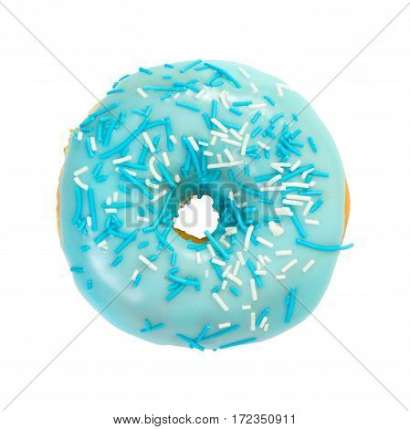 Donut With Blue Glaze And Blue And White Sprinkles