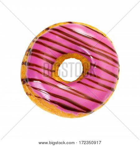 Donut With Purple Icing And Chocolate Stripes