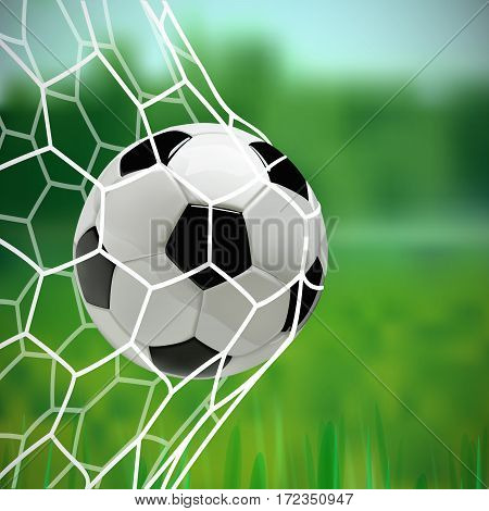Soccer or Football 3d Ball in the Net on green background