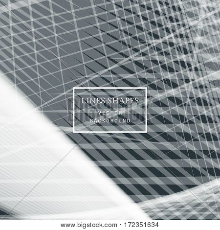 Modern technology striped abstract background vector. Grey stripes waves lines for presentation banner brochure poster website and flyer design. Contrast colors grid