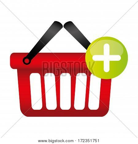 colorful silhouette with shopping basket with two handle and plus sign vector illustration