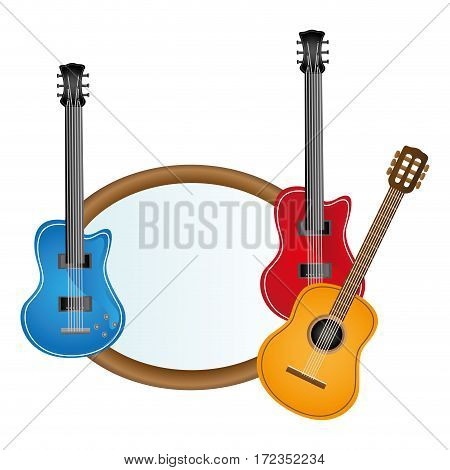 colorful silhouette with guitars set electric and acoustic vector illustration