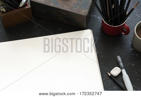 Stationery Illustration Black Marble Table