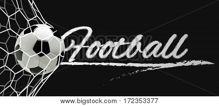 Soccer or Football Black Banner With 3d Ball in the Net and Scoreboard on black background