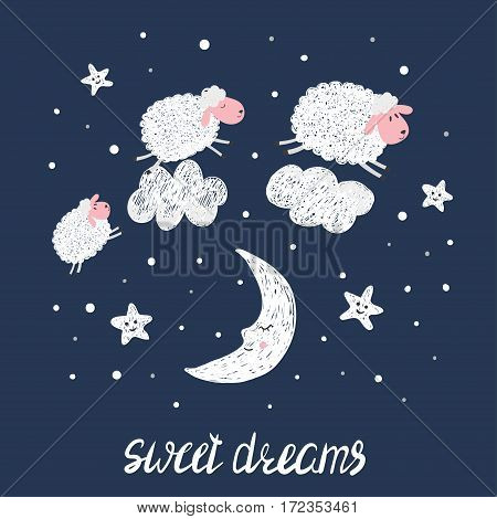Sweet dreams vector illustration for kids. Cute sheep stars and moon.