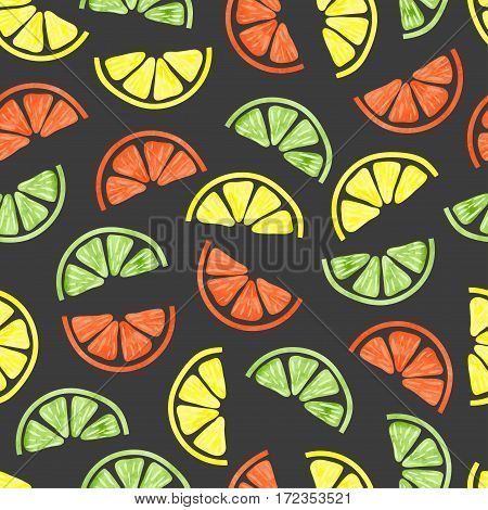 Citrus seamless pattern. Vector background with colorful citrus slices.