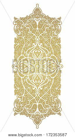 Vector element for design template. Luxury ornament in Eastern style. Golden floral illustration. Ornate decor for invitations greeting cards certificate labels badges tags.