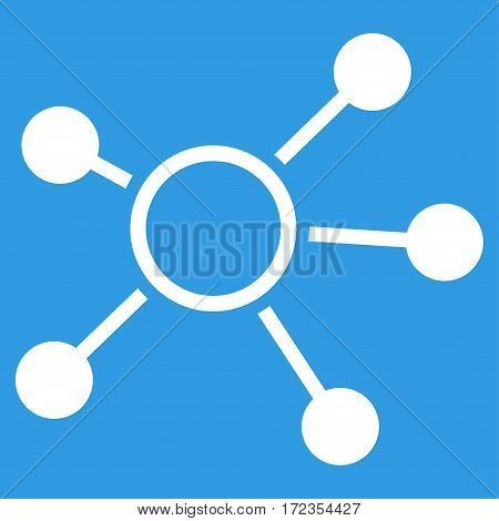 Connections vector icon. Flat white symbol. Pictogram is isolated on a blue background. Designed for web and software interfaces.