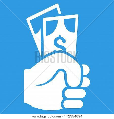 Dollar Banknotes Salary vector icon. Flat white symbol. Pictogram is isolated on a blue background. Designed for web and software interfaces.