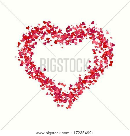 Decorative heart. Abstract composition of the hearts isolated on white background for Valentines day, wedding or marriage decorations. Decorative heart background with lot of hearts.