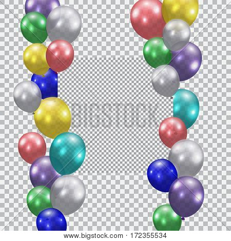 Festive balloons. Realistic, semi-transparent, colorful. Place for ads or commercials. Checkered background. Vector illustration